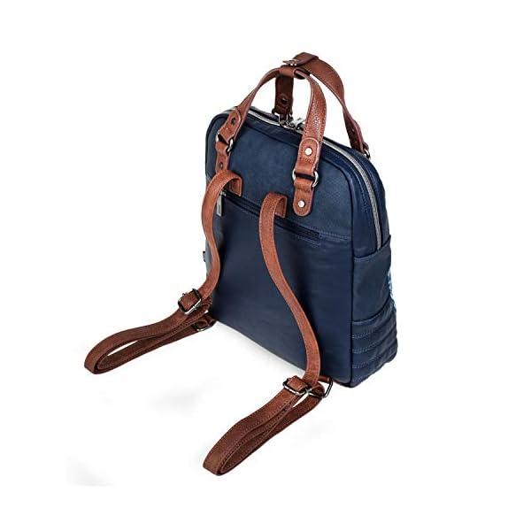 41pYXtrUvXL. SS600  - SKPAT - Bolso Mochila de Mujer. Diseño Casual. Práctico Cómodo Ligero y Resistente. Lona Estampada y Cuero PU Bonito Diseño. Estilo Elegante. Llavero. 304524, Color Azul
