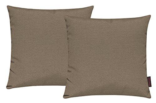 Fino Housse de coussin env. 40 x 40 cm qualité premium & pli résistant en 30 colorés Couleurs (Jeu de 2 Set) - Coton mélangé, 79 Brun Moyen, 40 x 40 cm, 40_x_40_cm