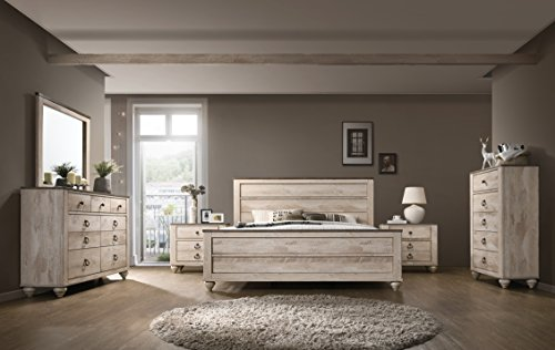 Best Buy! Roundhill Furniture Imerland Contemporary White Wash Finish Bedroom Set (6-Piece),
