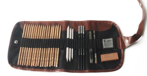 Conjunto de lápices de dibujo, 29 piezas de herramientas de dibujo profesional con lápices de carbón de leña tocones de mezcla para principiantes Artista Regalo de estudiantes