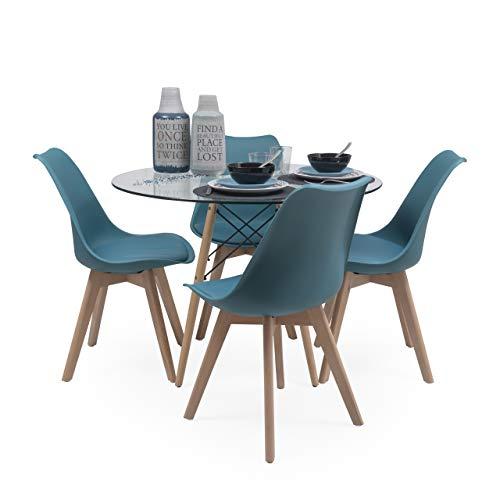 Conjunto de Comedor Tower Day Cristal Mesa de Cristal Redonda de 100 cm y 4 sillas Day (Turquesa)