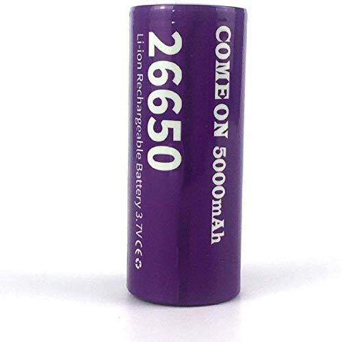 Lukytot Batería 26650 Recargable 3 7V Li-Ion Pilas 5000mAh de Capacidad Baterías de Litio Células Acumuladoras para Lámpara de Cabeza Linterna Antorcha Púrpura (2 Pcs)-1_Pcs