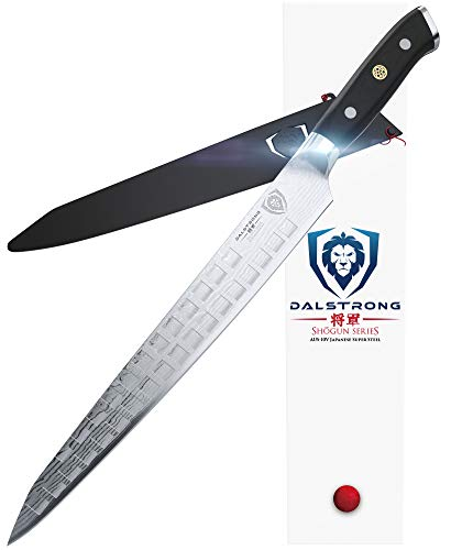 DALSTRONG Slicing Carving Knife - 12' Granton Edge - Shogun Series - Japanese AUS-10V Super Steel - Damascus - Vacuum Treated - Sheath