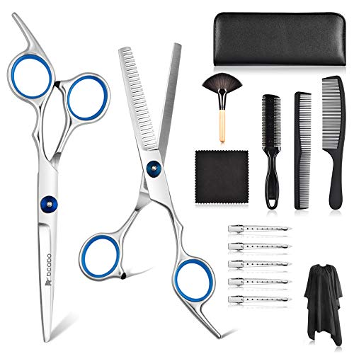 Bcabo 14 PCS Professional Hair Cutting Scissors Set for Women Men Kids, Hair Cutting Shears, Thinning Shears Scissors, Haircut Scissors Kit with Barber Cape, comb for cutting hair, Clips, Leather Case