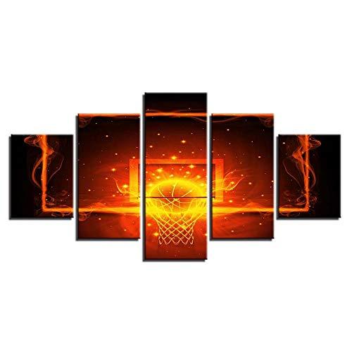 13Tdfc Leinwanddrucke Kreatives Geschenk 5 stück Leinwand Bilder Moderne Wandbilder XXL Wohnzimmer Wohnkultur Feuer und Basketballkorb Malerei