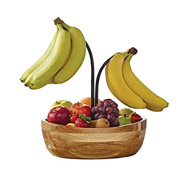 Gourmet Basics by Mikasa 5176797 Vienna Acacia Wood Fruit Bowl with Metal Banana Hook, Antique Black