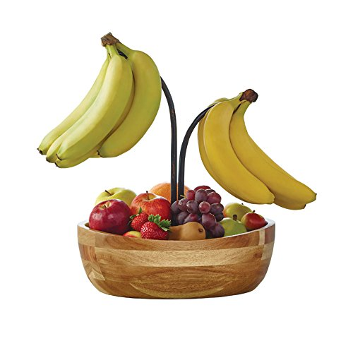 Gourmet Basics by Mikasa Vienna Fruit Bowl With Metal Wire Banana Hook And Holder, 12', Antique Black