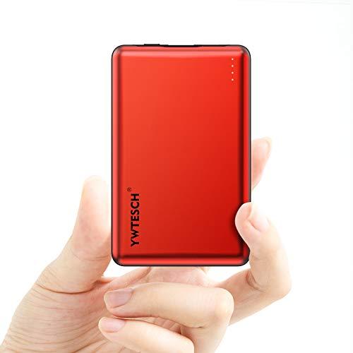 YWTESCH Power Bank 10000mAh, Caricabatterie Portatile in Lega di Alluminio, Uscita USB-A e Ingresso Type C(2A+2A), Batteria Portatile (Rosso) con 2 Cavos Compatibile con Tutti i Dispositivi Mobili …