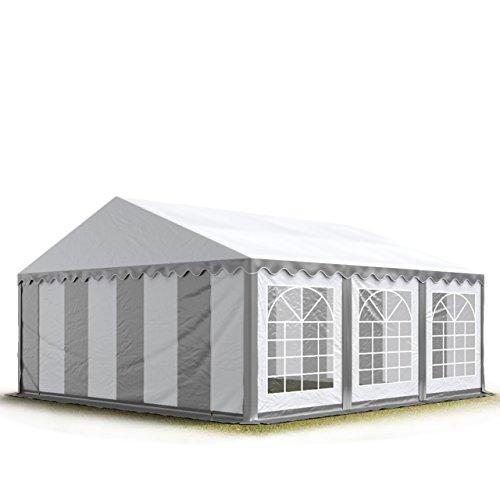 TOOLPORT Carpa para Fiestas Carpa de Fiesta 4x6 m Carpa de pabellón de jardín Aprox. 500g/m² Lona PVC en Gris-Blanco Impermeable
