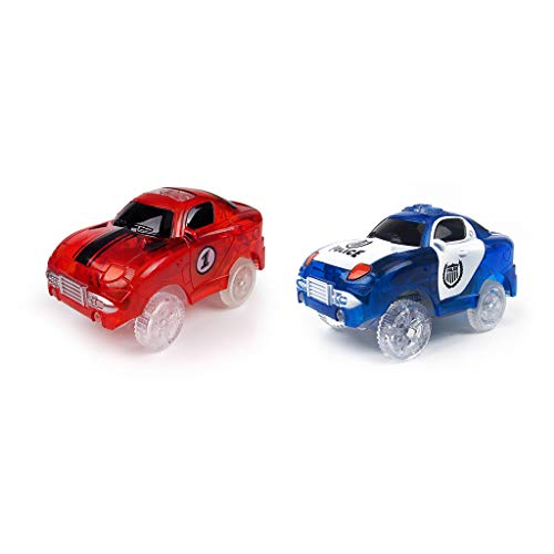 BCdirekt Magic Tracks Race Car 2er Set | Polizei und rotes Auto mit LED Licht | Spielzeugauto Kinder ab 3 Jahren | Ideal für Magic Tracks Autorennbahn
