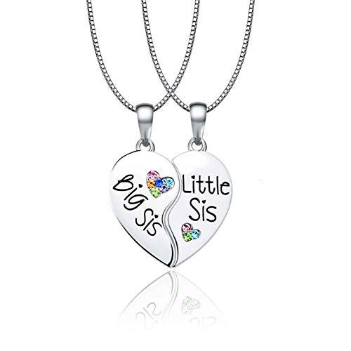 Cheerslife Schwestern Halsketten für 2 Big Sis Little Lil Sis Anhänger Enhancer Twin Sorority Herzhälften Passende BFF Bester Freund