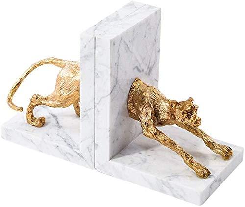 HIZLJJ Buchstütze Buchstützen Buchhalter Poliert Weißer Marmor Kupfer Leopard Kleine Skulptur Bookends for Office Dekorative,Größe: 27.5 * 17 * 11,5 cm, Farbe: Gold