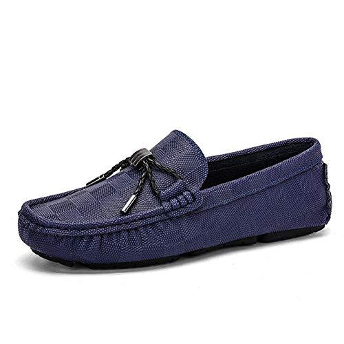 CAIFENG Volón de conducción for Hombres Mocasines de Barco Deslice en Estilo OX Cuero Redondo Toe Moda Bowknot Decoración Grid Impresión (Color : Blue, Size : 38 EU)
