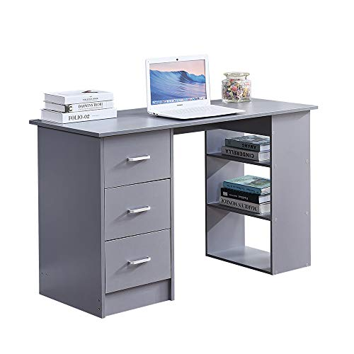 Ansley&HosHo-EU Modern Wood Computer Desk PC Laptop Table with 3 Drawers 3 Shelves for Home Office Workstation Dorm Home Living Room Bedroom, 120cm Corner Study Desk (Grey)