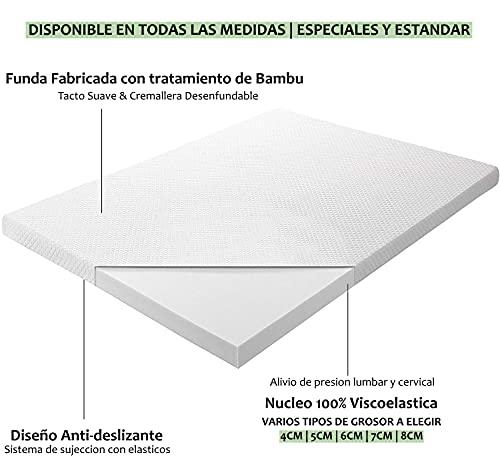 Cubrecolchon Topper 100% Viscoelastico | 135 x 180cm | Grosor 8CM | Fabricado en España | Libera Presion Cervical y Lumbar | Tratamiento Bambu | Anti-alergenico | Transpirable
