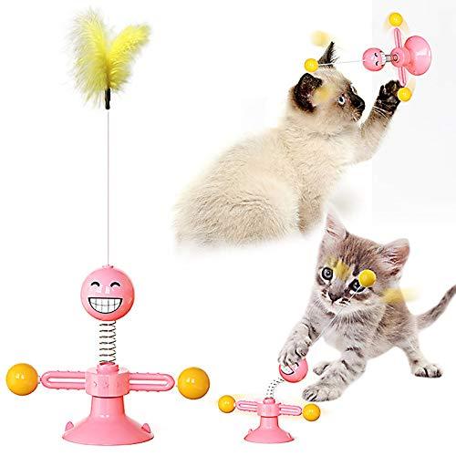 None/Brand Yisika Juguetes para Gatos Pequeños,Juguetes para Gatos Chase Bola Giratoria de 360 Grados Juguete para Mascotas para Gatos Entretenimiento Ejercicio de Caza