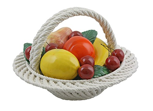 ThreeStar Authentic Italian Capodimonte Handmade 9 Inch Mixed Fruit Basket