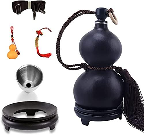 Flask Jug Flagon para licor con correa negra de un solo hombro, jarra de vino de la calda de la vendimia natural con base y embudo y llavero colgante (Color : Black, Size : 150ml)