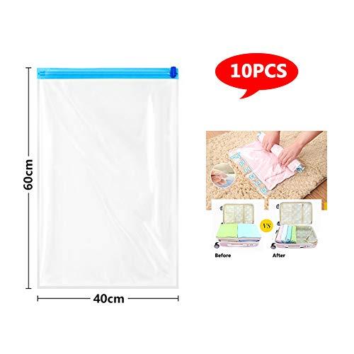Miao 10 verpakkingen reistas voor kleding - herbruikbare zakken voor compressie (zonder vacuüm of pomp vereist), 40 x 60 cm
