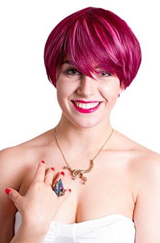 Prettyland Perruque Courte Rose Bonbon Rouge Mèches Frange Raide Lisse Dégradé Manga Pixie Travesti Wig C540
