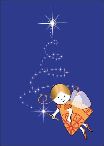 Im 5er Set: Niedliche Weihnachtskarte/Geschenkkarte zu Weihnachten/Grußkarte zum Weihnachtsfest mit kleinem Weihnachtsengel und Sternen Weihnachtsbaum