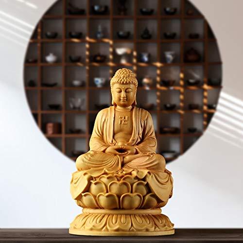 LBSST Escultura de Madera de boj de Buda Shakyamuni de Japón, Estatua sólida de Buda Dharma, decoración del hogar, Adorno de...