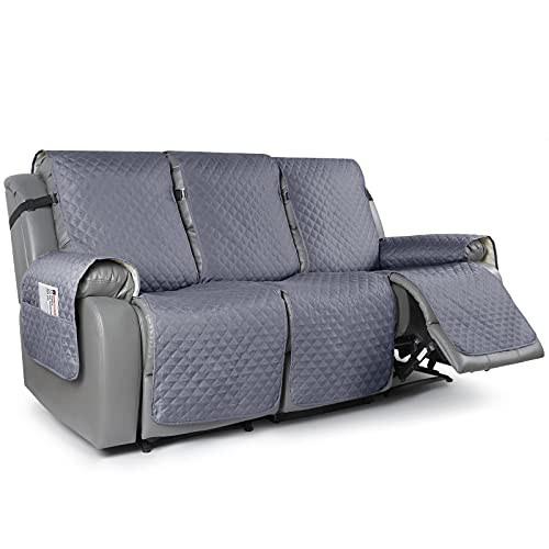 TAOCOCO Recliner Sofa Slipcover Couch Covers for 3 Cushion Couch, Pet Sofa Cover for 3 Seat Recliner Sofa, Washable Reclining Sofa Cover Furniture Protector with Elastic Straps(3 Seater, Bluish Grey)