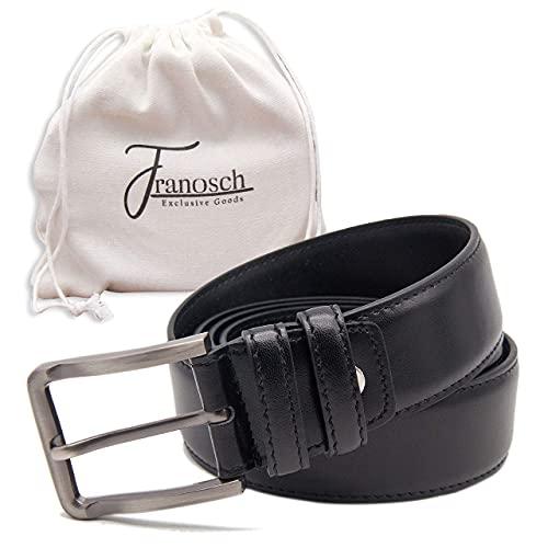 Franosch Ledergürtel mit silberner Schnalle - Herrengürtel aus beschichtetem Leder - Hochwertiger Gürtel Herren in schwarz - Gürtel Leder 34 mm 105 cm bis 145 cm (115)