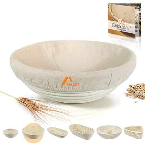 Cesta de fermentación, incluyendo un folleto con recetas y consejos de uso   Cesta de pan de fermentación en palma natural (redonda | Ø 25 cm)   incluye un tela de lino