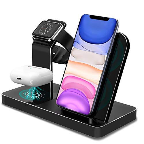 YOMENG Wireless Charger Station, 15W 3 in 1 Fast Aluminum Charging Station...