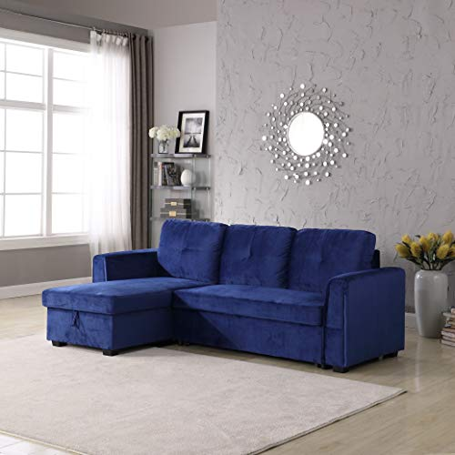 Velvet Storage Reversible Sectional Sofa bed Sleeper Velvet Chaise Storage Reversible Sofa Bed Sleeper Sectional, Blue