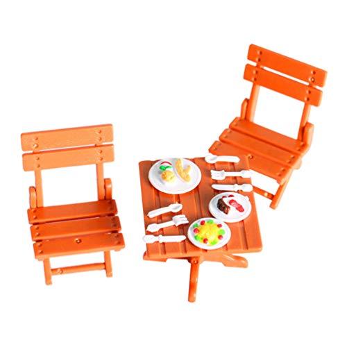 TOYANDONA Muebles de Plástico para Casa de Muñecas Juego de Comedor en Miniatura Mini Mesa de Comedor Juego de Silla Y Vajilla Juego de Comida Juguetes de Escena Mini Comedor