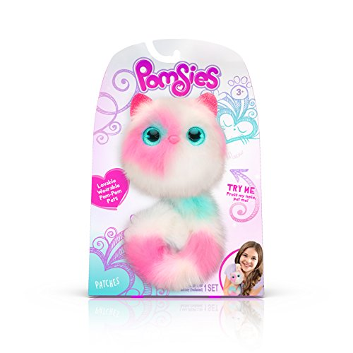 Pomsies Patches Plush Interactive Toys, White/Pink/Mint