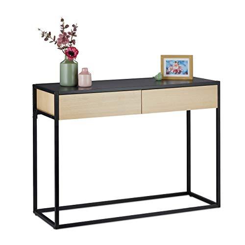 Relaxdays Konsolentisch, 2 Schubladen, schmaler Ablagetisch Flur & Wohnzimmer, modern, HBT: 80x110x40 cm, schwarz/Natur, 1 Stück