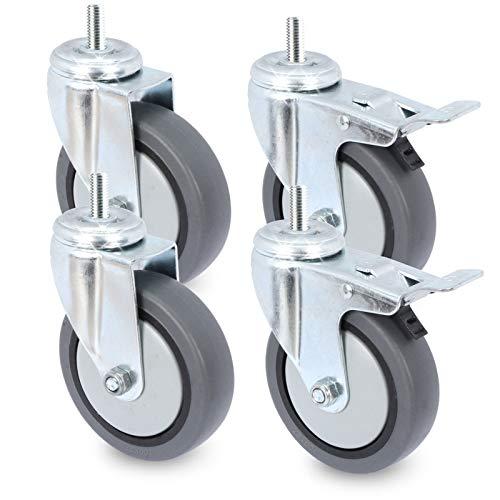 Apparaterollen-Set mit Rückenloch & M10 Schraube - Spurlos abrollend - bis zu 60 KG (pro Rolle) - Transportrollen/Laufrollen - von PRIOstahl (50 mm)
