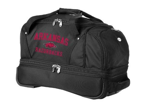 NCAA Arkansas Razorbacks Denco 22-Inch Drop Bottom Rolling Duffel Luggage, Black