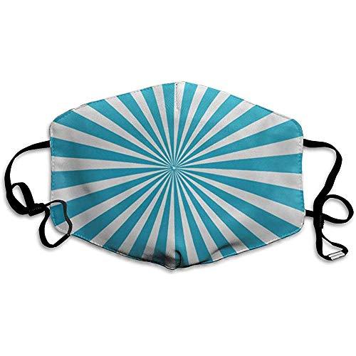 FANCYDAY Mond Maskers, Multifunctionele Maskers Blauw Licht Gestreepte Abstracte Lijn Ronde Twist Wit Radiaal