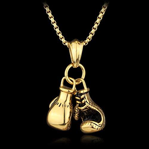 Gotische Halskette Boxhandschuhe Anhänger Herren Halskette Gold Silber Farbe Schwarzer Handschuh Hip Hop Kettenhalsketten Sport Fitness Schmuck-Golden
