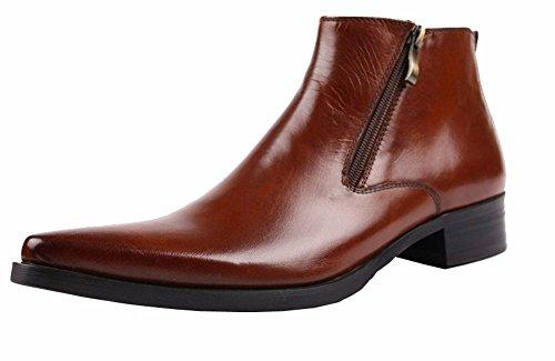 Wuf Herren Stiefel Boots Lederstiefel Schuhe Klassisch (43, Braun)