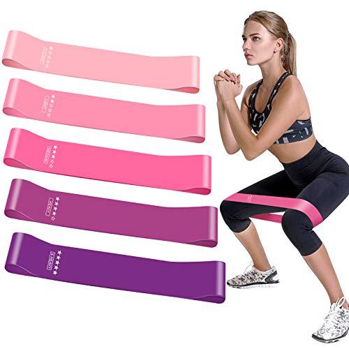 Fitnessband, Theraband [5er Set] Resistance Bands Fitnessbänder Gymnastikband Sportbänder Terra Band Widerstandsbänder aus Naturlatex für Damen Workouts Fitness Pilates Yoga