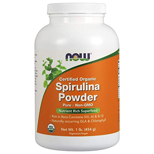 NOW Supplements, Certified Organic, Spirulina Powder, Rich in Beta-Carotene (Vitamin A) and B-12 with naturally occurring GLA & Chlorophyll, 1-Pound