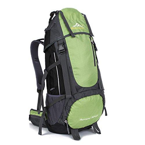 Minetom Sacs De Trekking 55L Professionnel Voyage Anti-Pluie Sports Imperméable Sac À Dos Adulte Extérieur Randonnée Camping Vert One Size(34 * 18 * 66 cm)