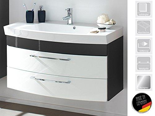 möbelando Waschplatz Unterschrank Waschtisch Badmöbel Waschbecken Badschrank Rima II (anthrazit/weiß-Hochglanz/anthrazit-Hochglanz)