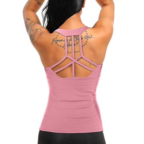 COLO Women Yoga Tank Top Workout Tops Open Back Racerback Built in Bra Removable Pad -Cross Pink(M)