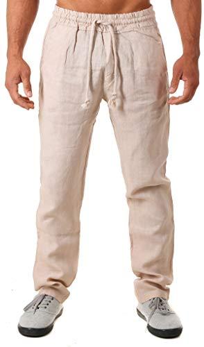Young & Rich Herren Leinenhose Sommerhose 100% Leinen mit Kordelzug Straight Regular Fit S4103, Grösse:L, Farbe:Beige