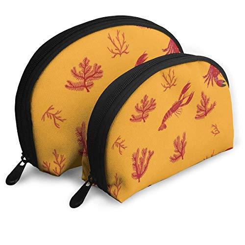 Bolsa cosmética de belleza, bolsa de maquillaje de cangrejo naranja práctica bolsa de maquillaje para mujeres y niñas