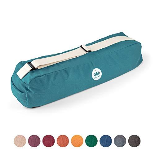 Lotuscrafts Yogatasche PUNE aus Bio-Baumwolle - Fair & Ökologisch hergestellt - Yogamattentasche groß mit extra viel Platz - Tasche für Yogamatten & Yoga-Zubehör (Petrol_)