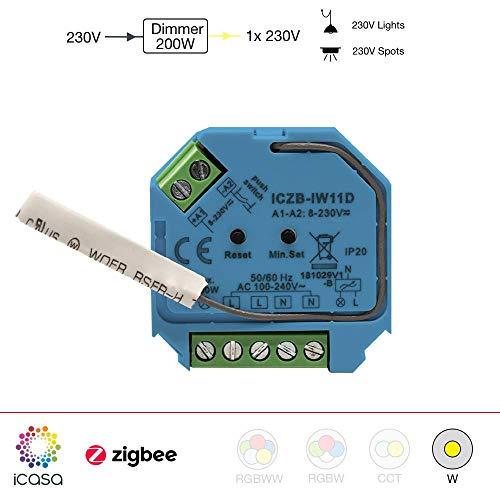 icasa Dimm-Aktor 1 Kanal 230V, max. 200W/400W, Kompatibel mit Zigbee 3.0 Gateway
