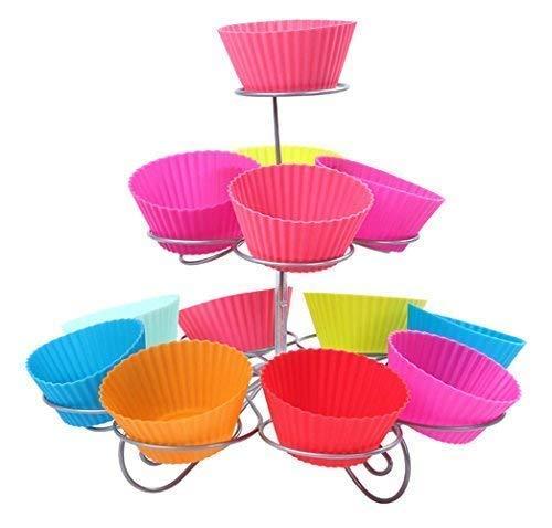 Trimming Shop 3 Niveles Espiral Metal Soporte Cupcakes - 13 Mini Pastel Expositor - para Fiestas Y Ocasiones - 3 Niveles, 3 Tier