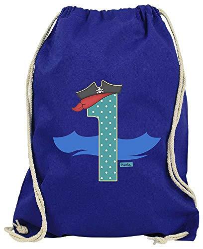 Hariz - Bolsa de Deporte con diseño de Sombrero de Pirata, Incluye Tarjeta de Regalo, Color Azul Real, tamaño Talla única